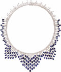 Estate Jewelry:Necklaces, Diamond, Sapphire, Gold Necklace. The kerchief-style necklace features full-cut diamonds weighing a total of approximately...