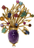 Estate Jewelry:Brooches - Pins, Multi-Stone, Cultured Pearl, Gold Pendant-Brooch. Designed as a vase filled with flowers, the pendant-brooch features an o...