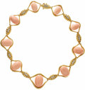 Estate Jewelry:Necklaces, Coral, Diamond, Gold Necklace. The necklace features graduatedcoral beads ranging in size from 17.00 x 10.00 mm to 21.50 ...