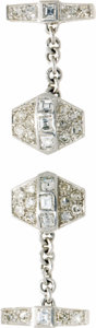 Estate Jewelry:Cufflinks, Gentleman's Diamond, Platinum Cuff Links. ... (Total: 2 Items)