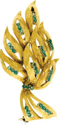 Estate Jewelry:Brooches - Pins, Emerald, Gold Brooch. The brooch, designed as a cluster of leaves, features round-cut emeralds, set in Florentine-finished...