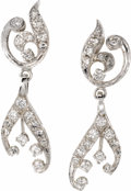 Estate Jewelry:Earrings, Diamond, Gold Earrings. Each earring features full and single-cutdiamonds, set in 14k white gold. Total diamond weight fo...