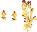 Estate Jewelry:Brooches - Pins, Retro Ruby, Gold Jewelry Suite. The floral themed suite includes an oversized brooch featuring round and baguette-cut rubi...