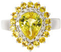 Estate Jewelry:Rings, Yellow Sapphire, Diamond, Gold Ring. The ring centers a pear-shapedyellow sapphire measuring 9.00 x 7.50 x 4.50 mm and we...