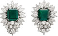 Estate Jewelry:Earrings, Emerald, Diamond, Platinum Earrings. Each earring features an emerald-cut emerald measuring 11.20 x 10.30 mm and weighing ...