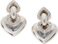 Estate Jewelry:Earrings, Diamond, White Gold Earrings, Bvlgari. Each earring features an 18k white gold double heart design, accented by full-cut d...