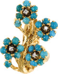 Estate Jewelry:Rings, Turquoise, Diamond, Gold Ring. The ring features florettes enhancedby turquoise cabochons, accented by single-cut diamond...