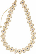 Estate Jewelry:Necklaces, Sapphire, Gold Necklace, Ruser. The necklace features round-cutsapphires weighing a total of approximately 1.75 carats, s...