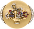 Estate Jewelry:Brooches - Pins, Diamond, Ruby, Sapphire, Seed Pearl, Platinum-Topped Gold Brooch. The flower basket brooch features single-cut diamonds we...