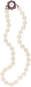 Estate Jewelry:Necklaces, Cultured Pearl, Ruby, Sapphire, Diamond, Gold Necklace. Thenecklace is composed of cultured pearls measuring approximatel...