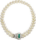 Estate Jewelry:Necklaces, Cultured Pearl, Emerald, Diamond, Gold Necklace. The necklace iscomposed of cultured pearls measuring approximately 8.00 ...