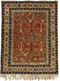 Rugs & Textiles:Carpets, An Antique Shirvan Rug. Caucasian, Circa 1890. Wool. 62.2 inches x48.5 inches. Woven with brick red background and whit...