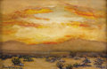 Texas:Early Texas Art - Regionalists, BERLA EMEREE (1899-1948). Untitled Sunset. Oil on artist board.7in. x 10 3/8in.. Signed lower left. Signed verso. A vibra...