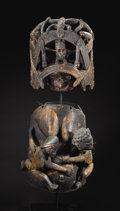 African: , Yoruba (Nigeria). Gelede Helmet and Body Mask Ensemble. Wood, pigment, metal, cloth, cord. Helmet: Heigth: 15 ¾ inches ... (Total: 2 Items)