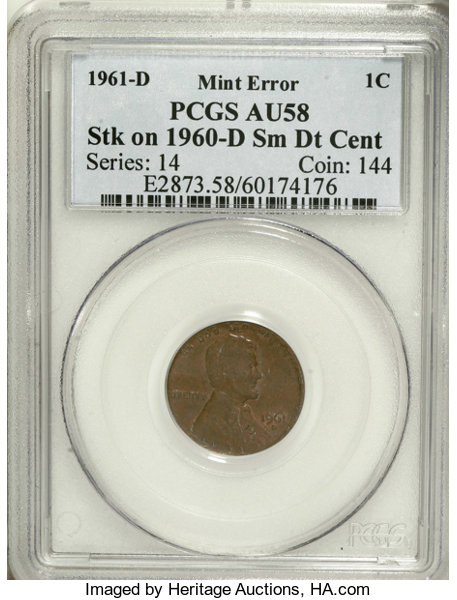 1961-D 1C Lincoln Cent--Struck on a 1960-D Small Date Cent
