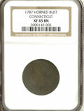 """Colonials: , 1787 COPPER Connecticut Copper, Horned Bust XF45 PCGS. Miller 4-L,R.1. A later die state with the """"horn"""" die break attache..."""