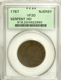 Colonials: , 1787 COPPER New Jersey Copper, Serpent Head VF20 PCGS. Maris 54-k, R.3. This lightly granular and medium brown example has ...