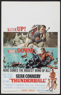 "Thunderball (United Artists, 1965). Window Card (14"" X 22""). James Bond Action. Starring Sean Connery, Claudin..."