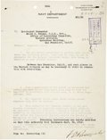 """Autographs:U.S. Presidents, Franklin D. Roosevelt: Typed Letter Signed """"F. D. Roosevelt""""as Acting Secretary of the Navy...."""