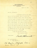 Autographs:U.S. Presidents, Franklin D. Roosevelt: Typed Letter Signed with HolographicPostscript as Assistant Secretary of the Navy.... (Total: 2 Items)