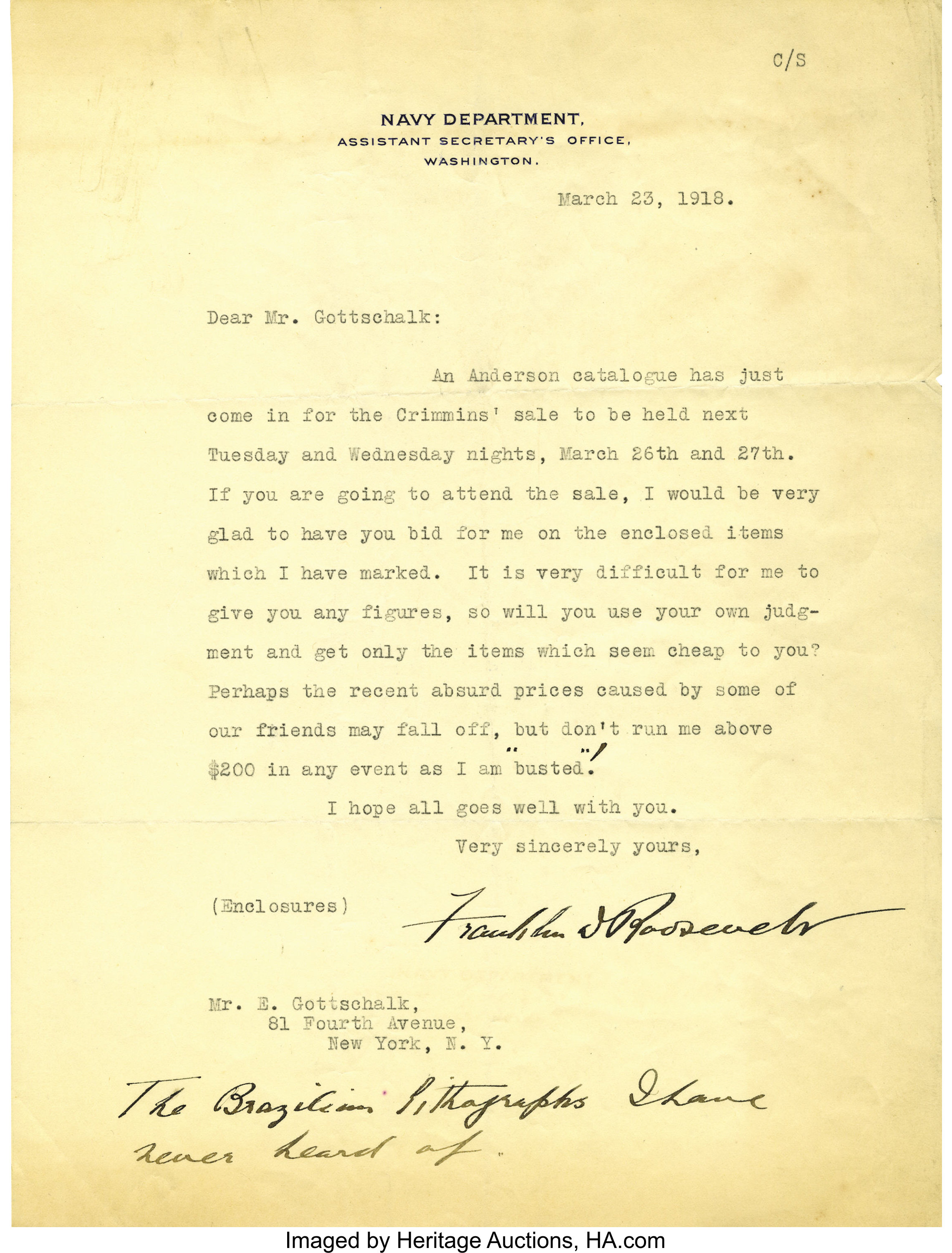 Franklin D  Roosevelt: Typed Letter Signed with Holographic
