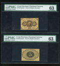 Fractional Currency:First Issue, Fr. 1231SP 5c First Issue Narrow Margin Pair PMG Choice Uncirculated 63.... (Total: 2 notes)