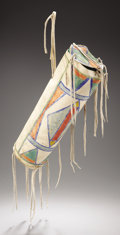 American Indian Art, A CROW PAINTED CYLINDRICAL PARFLECHE CASE. c. 1890. ...