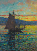 Fine Art - Painting, American:Antique  (Pre 1900), Attributed to MARY LOUISE FAIRCHILD (American, 1866-1946).Sailboat at Dusk. Oil on canvas laid on board. 20 x 15inches...