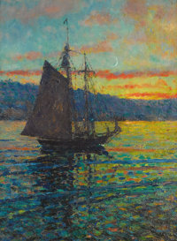 Attributed to MARY LOUISE FAIRCHILD (American, 1866-1946) Sailboat at Dusk Oil on canvas laid on boa