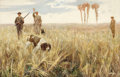 Fine Art - Painting, European:Modern  (1900 1949)  , JOHN G. SOWERBY (British, 1850-1914). Hunting Quail. Oil oncanvas. 31 x 48 inches (78.7 x 121.9 cm). Signed lower right...