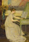 Fine Art - Painting, American:Modern  (1900 1949), MARY LOUISE FAIRCHILD (American, 1866-1946). Girl Playing theHarpsichord, 1899. Oil on canvas laid on masonite. 30 x 21...