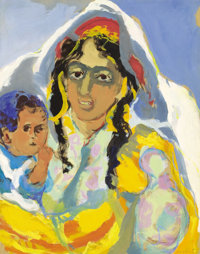 MANÉ-KATZ (French, 1894-1962) Mother and Child Gouache on paper 23-3/4 x 19-1/4 inches (60.3 x