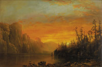 AMERICAN WESTERN SCHOOL (19th Century) Sunset behind the Cliffs Oil on panel 12-1/4 x 18-1/2 inch