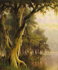 JOSEPH RUSLING MEEKER (American, 1827-1889) Florida Lowlands, 1886 Oil on canvas 30 x 25 inches (