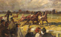 Fine Art - Painting, European:Modern  (1900 1949)  , FRENCH SCHOOL (Early 20th Century). A Day at the Races. Oil on canvas. 43-1/4 x 71 inches (109.9 x 180.3 cm). ...