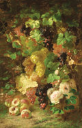 Fine Art - Painting, European:Antique  (Pre 1900), FRANÇOIS BACKVIS (French, 1857-1926). Still Life with Grapes, Peaches and Roses, 1885. Oil on wood panel. 39-1/2 x 26 in...