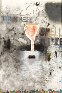 JIM DINE (American, 1935-) Untitled (The Cheese Weeze), 1970 Mixed media and collage on paper 60