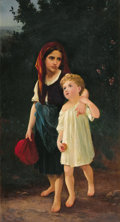 19th Century European:Neoclassical, EMILE MUNIER (French 1810-1895). Apple Pickers, 1890. Oil on canvas. 46 x 25 inches (116.8 x 63.5 cm). Signed and dated ...