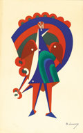 Fine Art - Painting, European:Modern  (1900 1949)  , MIKHAIL LARIONOV (Russian/French, 1881-1964). Le Paon, 1919. Lithograph in colors. 20-1/2 x 12-3/4 inches (52.1 x 32...
