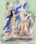 Fine Art - Painting, European:Modern  (1900 1949)  , SERGE FERAT (Russian, 1881-1958). Mother Raising an Infant. Gouache on paper. 5-3/4 x 4-3/4 inches (14.6 x 12.1 cm). Sig...