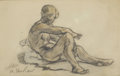 Fine Art - Painting, American:Antique  (Pre 1900), WALTER SHIRLAW (American, 1838-1909). Seated Female Nude.Charcoal and pastel. 5-1/2 x 8-3/4 inches (14.0 x 22.2 cm). Si...