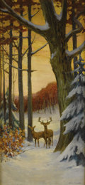 Paintings, STACY TOLMAN (American, 1860-1935). Deer in a Winter Forest. Oil on canvas. 38 x 18 inches (96.5 x 45.7 cm). Signed lowe... (Total: 1 Item Items)