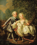 Fine Art - Painting, European, Attributed to FRANÇOIS HUBERT DROUAIS (French, 1727-1775). Portrait of Charles-Phillipe of France & Marie-Adelaide-Clotild...