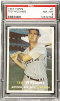 Baseball Cards:Singles (1950-1959), 1957 Topps Baseball Ted Williams #1 PSA NM-MT 8. While theappearance as the number one card in a set is intended to be anh...