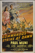 "Movie Posters:War, Commandos Strike at Dawn (Columbia, 1942). One Sheet (27"" X 41"")Style A. War...."