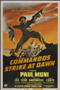 "Movie Posters:War, Commandos Strike at Dawn (Columbia, 1942). One Sheet (27"" X 41"") Style B. War...."