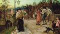 Fine Art - Painting, European:Antique  (Pre 1900), ALICE HAVERS (British, 1850-1890). Belle of the Village,1883. Oil on canvas. 32-1/2 x 55-1/2 inches (82.6 x 141.0 cm). ...