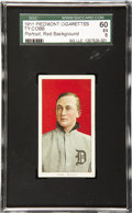 Baseball Cards:Singles (Pre-1930), 1909-11 T206 Ty Cobb Portrait Red Background SGC 60 EX 5. It's a favorite of many collectors of this most beloved of tobacco...