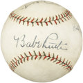 Autographs:Baseballs, Circa 1928 Babe Ruth & Lou Gehrig Signed Baseball. Equal inquality to Ruth and Gehrig signed spheres that have summited th...