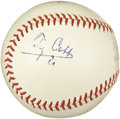 Autographs:Baseballs, 1950's Ty Cobb & 1976 Lou Brock Signed Baseball. Linked ineternity as two of the greatest base thieves in our National Pas...